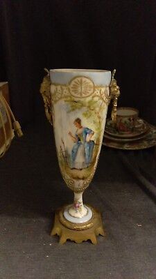 Antique 19th Century Sevres French Porcelain & Gilt Bronze Urn