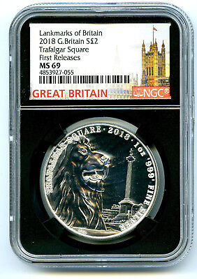2018 Great Britain 2Pd 1 Oz Silver Trafalgar Square Lion Ngc Ms69 First Releases