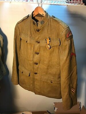 WW1 US 41st Infantry Division Uniform Bullion Patch And Victory Medal (B143