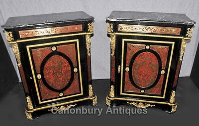 Pair Boulle Inlay Cabinets Chests Buhl Louis XVI  Furniture