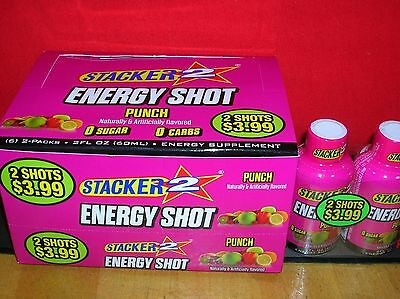 72-Punch Stacker 2 - Energy Shot - Guaranteed Fresh-Save $$ Here/fast Ship