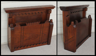 Victorian Walnut East Lake Wood Salesman Sample Doll Bed Magazine Rack Holder