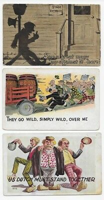 COMIC Chasing Booze Drunks & Lamp Post Silhouette - Lot of 3 Post Cards #2271