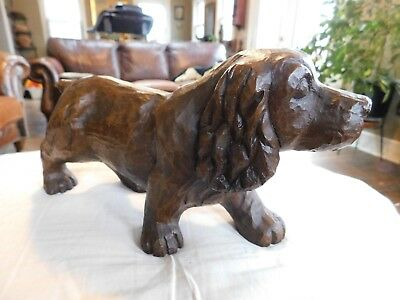 Large Vintage Solid Wood Hand Carved Wooden Dog Statue-Spaniel Retriever Setter