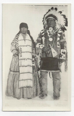 Early RPPC Postcard Native American Indian Chief & Wife Traditional Axe B1P