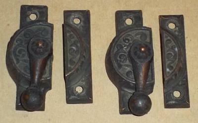 2 Antique Victorian Eastlake Type Window Sash Latches / Locks
