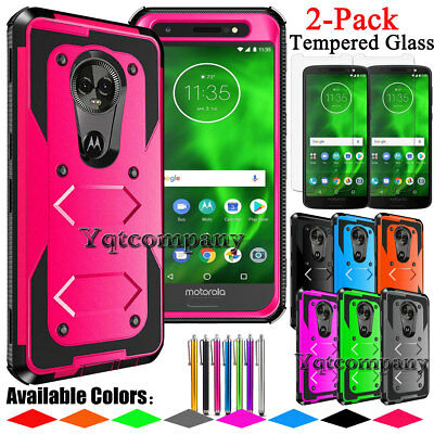 low priced 894fb 56892 FOR MOTOROLA MOTO G6 Shockproof Armor Case Cover+Tempered Glass Screen  Protector