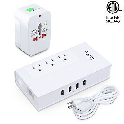 Travel Power Adapter Voltage Converter Step Down 220 to 110 1875W with USB ETL