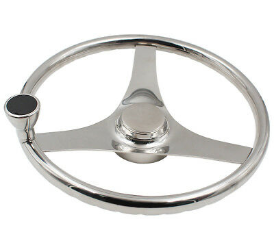 """316 Stainless Steel 13-1/2"""" Boat Steering Wheel With Knob for Marine Kayak Yacht"""
