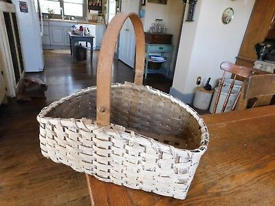Antique Woven Split Oak Market Gathering Field Basket-White Paint-Carved Handle