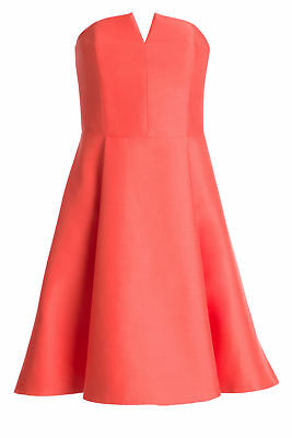 Halston Heritage Pink Split-Neck Women's Size 8 Side-Zip A-Line Dress $475- #102
