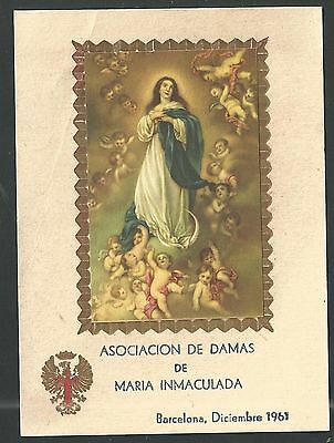 Estampa antigua de la Virgen Inmaculada santino holy card image pieuse