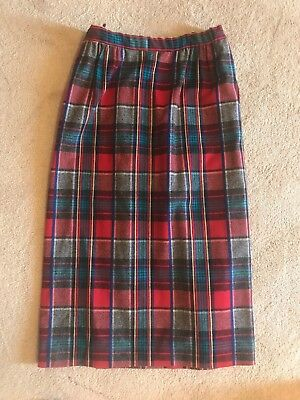 Vintage Pendelton Wool Tartan Skirt Plaid Red Green Blue Size 14