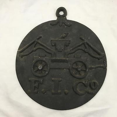 Vintage Cast Iron FIRE MARK F.I. Co. Fire Insurance Co of Baltimore Plaque
