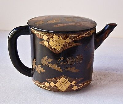 Antique Japanese Black Lacquer and Gold Teapot, Ewer, w  family crest