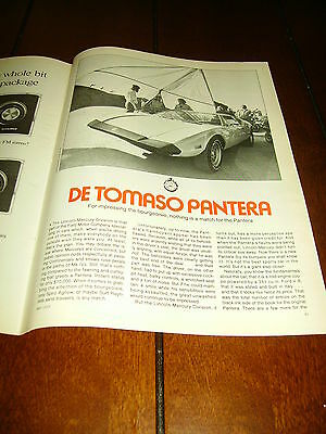 1973 De Tomaso Pantera  ***original Article / Road Test***