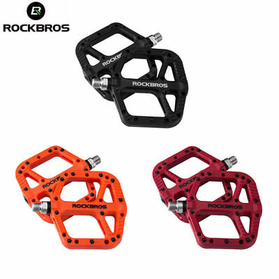 """RockBros MTB Mountain Bike Bicycle Bearing Flat Pedals Wide Nylon Pedals 9/16"""""""