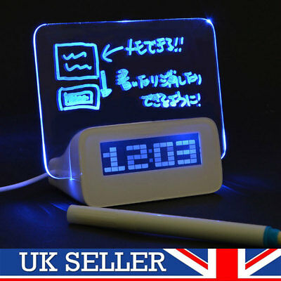 Alarm Clock Board With Pen Office Gadget Scribble LED Morning Memo Message