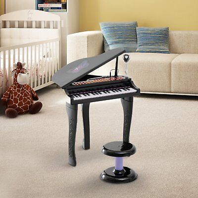 Kids Play Piano Keyboard Toy W/ Stool & Microphone & 37 Electronic Keys Black