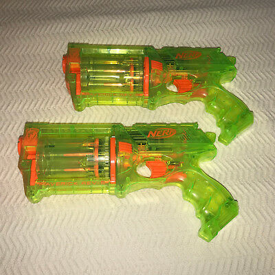 Lot of 2 Neon Green NERF N-Strike Maverick REV-6 Toy Soft Dart Guns Transparent