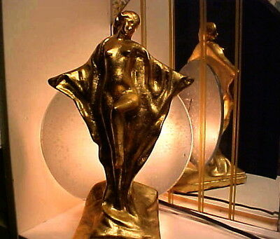 Art Deco 1930's Modernistic Gold Nude Lady Lamp with Shade - Frankart Era
