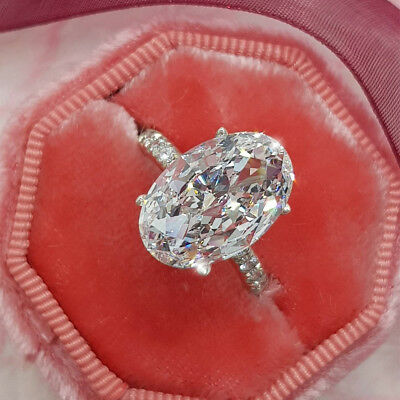Luxury Oval White Sapphire Wedding Ring White Gold Engagement Jewelry Size 6-10