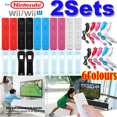 2Sets REMOTE CONTROLLER and NUNCHUCK FOR NINTENDO WII & WII U + SILICONE + STRAP
