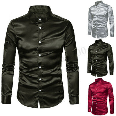 Mens Long Sleeve Faux Silk Satin Shirt Slim Button Club Business Formal Tops Tee
