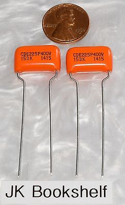 Two NEW 225P Orange Drop .015uf 400V +/-10% Polyester Guitar Tone Capacitors