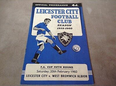 Leicester v West Bromwich Albion WBA Programme 20/2/60 FA Cup