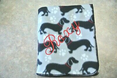 Dachshund Doxie Dog Blanket Can Be Personalized 28x22""
