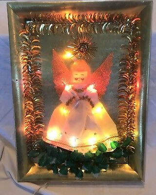 Kitschy Vintage  Electric Christmas Angel Wall or Tabletop Picture Frame Works!