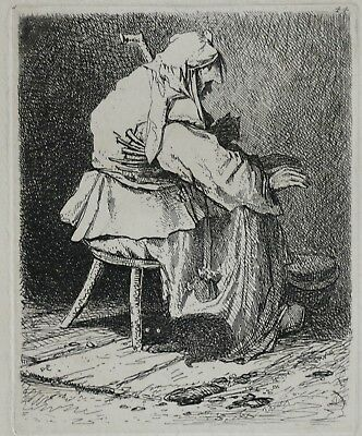 John Sell Cotman (1782-1842) Rare1838 Etching Rembrandt Woman By Fireside