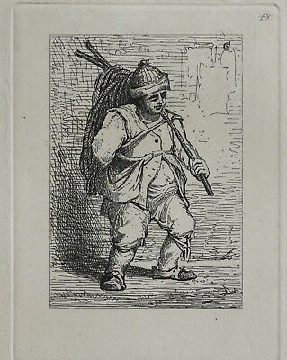 John Sell Cotman (1782-1842) Signed 1838 Etching Dutch Figure Carrying Rope