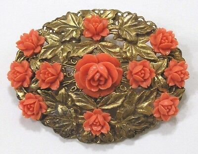 Vintage Jewelry Large Brooch Carved Faux Coral Roses Brass Leaves 1930s Brass