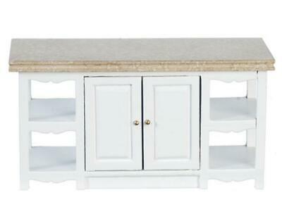 Dolls House White Kitchen Island Unit Marble Top Miniature 1:12 Scale Furniture