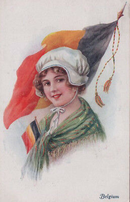 ANOTHER PRETTY BELGIUM LADY IN COSTUME Flag 1916 COLORFUL VINTAGE POSTCARD