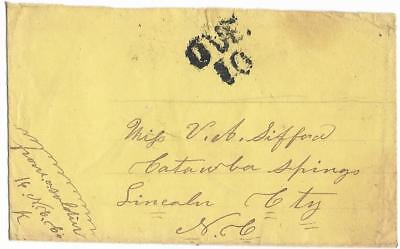 CSA Soldier's Cover Soldier, Co. K, NCV.  to Miss V.A. Sifford in CatawbaSprings