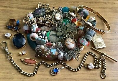 Mixed Lot Of Vintage/antique Jewellery Bits & Pieces Silver,cameo Etc
