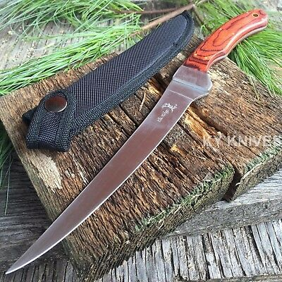 "New Elk Ridge Fillet Knife 12"" Fixed Blade Wood Handle Full Tang Fishing ER-028"