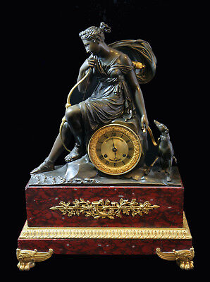 """Antique French Gold Plated Bronze  & Red Languedoc Marble """"empire"""" Mantel Clock"""