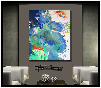 ABSTRACT PAINTING Modern Canvas Wall Art, Large, Framed, Signed,  USA ELOISExxx