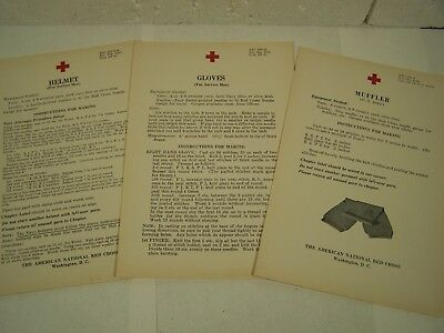 3 vtg RED CROSS KNITTING PATTERNS WWII 1940's Home Front GLOVES SCARF HELMET etc