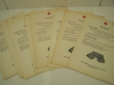 10 vtg orig RED CROSS KNITTING PATTERNS WWII 1940's Home Front Projects Muffler