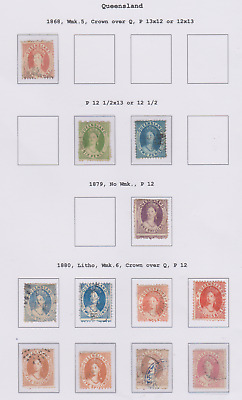 Queensland 1868/80 Collection Page of Used to 20/-