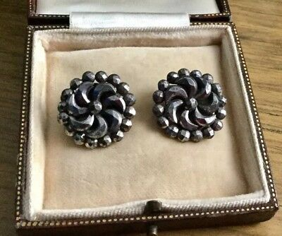 Superb Rare Pair Of Antique Georgian Cut Steel Clip On Earrings