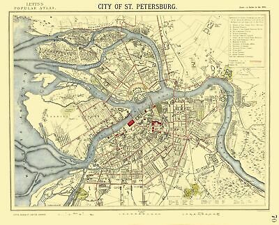 St Petersburg Russia Europe - Letts 1883 - 28.49 x 23