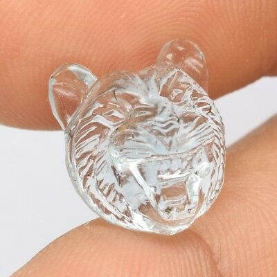 8.95ct Smiling Tiger Face Carving Natural Unheated Greenish Blue Aquamarine