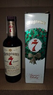 Vintage Seagrams 7 Crown Whiskey Bottle Full Sealed 750 Ml With Box