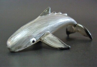 Glass SPERM WHALE Silver Grey Glass Animal Painted Glass Figurine Glass Ornament